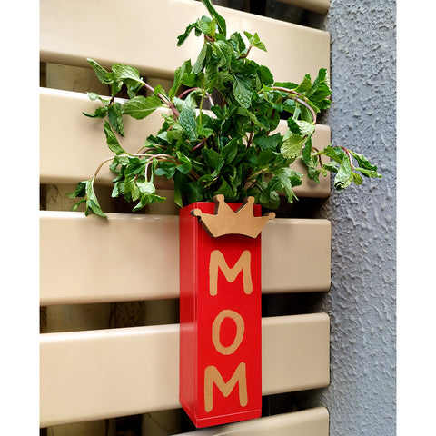 VAH Red Printed for Mom Magnetic Hydroponic or Artificial  Plants Holder for Refrigerator Kitchen Counter  ( Hanging or Lay Flat)