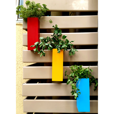 VAH  Yellow Blue and Red Magnetic Hydroponic or Artificial  Plants Holders for Refrigerator Kitchen Counter  ( Hanging or Lay Flat)