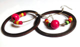 VAH  latest traditional beads black wooden trendy hoop earring