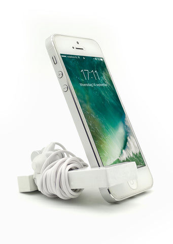 VAH  Keychain with earphone and  Mobile Stand (White)