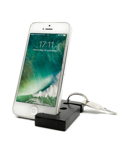VAH Keychain with earphone and Mobile Stand (Black)