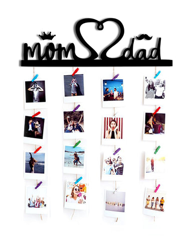 VAH MOM AND DAD WOODEN HANGING PHOTO DISPLAY WITH WOOD CLIPS