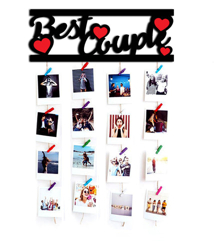 VAH Best Couple Wooden Hanging Photo Display Picture Frame Collage Picture Display Organizer with Wood Clips for Wall Decor Hanging Photos