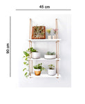 VAH Wall Hanging Shelf, White Wood Floating Shelves