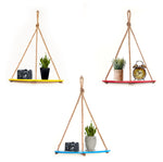VAH Wall Hanging Shelf, 3 Set of Half Oval combo of Yellow + Maroon + Blue