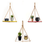 VAH Wall Hanging Shelf, 3 Set of Half Oval combo of Yellow + Maroon + White