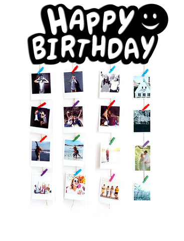 VAH Happy Birthday Wooden Hanging Photo Display
