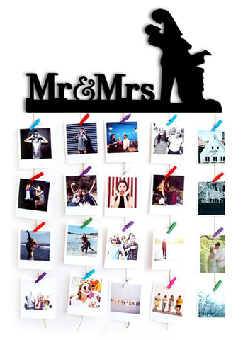 VAH Mr. and Mrs. HANGING PHOTO DISPLAY WITH WOOD CLIPS