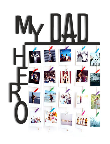 VAH MY DAD MY HERO WOODEN HANGING PHOTO DISPLAY WITH WOOD CLIPS