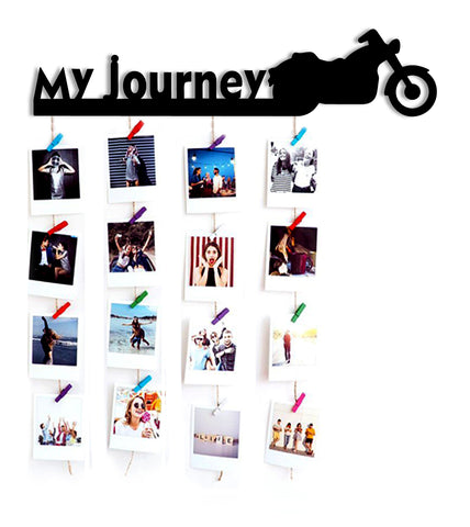VAH MY JOURNEY WOODEN HANGING PHOTO DISPLAY WITH WOOD CLIPS