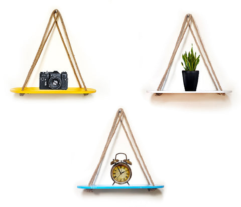 VAH Wall Hanging Shelf, Combo of 3 Set of Rectangle oval combo of Yellow + White + Blue