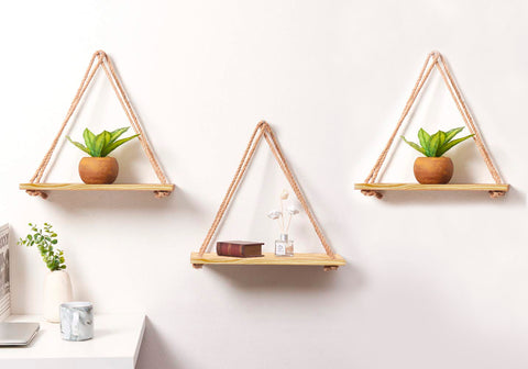 VAH Wall Hanging Shelf, 3 Set of Real pine Wood Floating Shelves for Wall