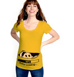 Trender  Casual Maternity  Baby  Loading   Printed  Tunic T shirts (Yellow)