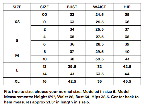 Suitably Suite Skirt Size Chart