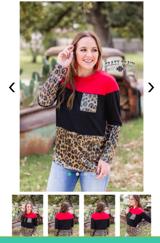 Red, Black and Leopard Sequin Top