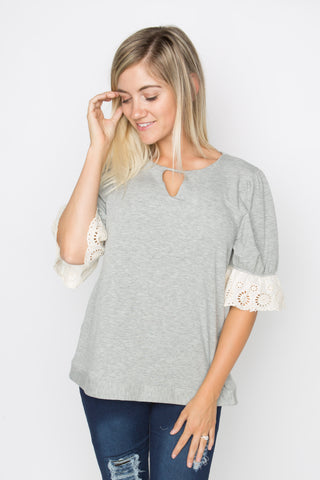Grey Ultra Soft Ruffle Tee
