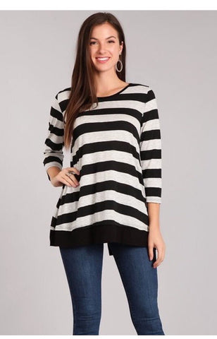 Black/Grey Striped Tunic
