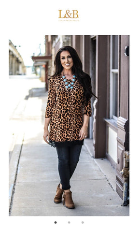 Leopard Mid Sleeve Lace Trim Tunic