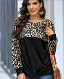 Crew Neck Leopard Solid Loose Top