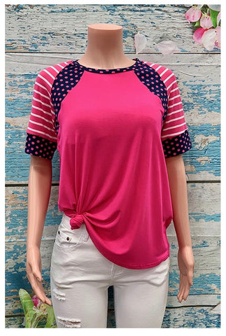 Fuchsia Polka Dot & Striped Top