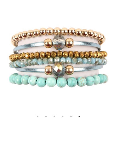 Turquoise/Silver/Gold Bracelet