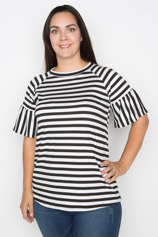 Striped Ruffle Sleeve Tee