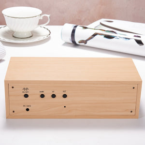 Multifunctional Wooden LED Screen Alarm Clock and Bluetooth Speaker. Limited Supply