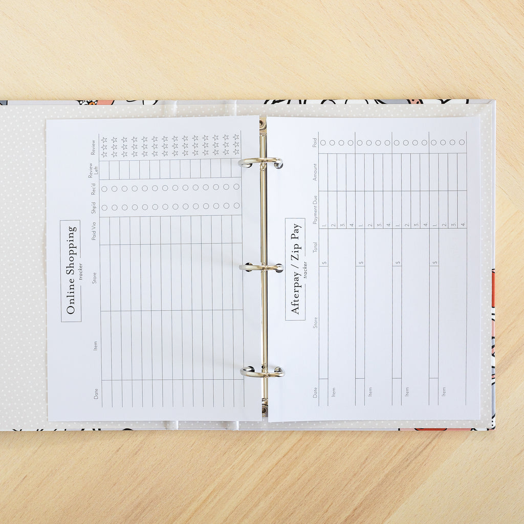 Online Shopping Tracker | Binder Planner Inserts