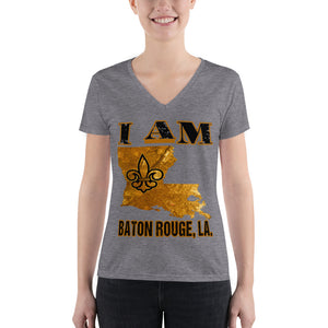 Premium Women's I Am- Baton Rouge  V-neck Tee