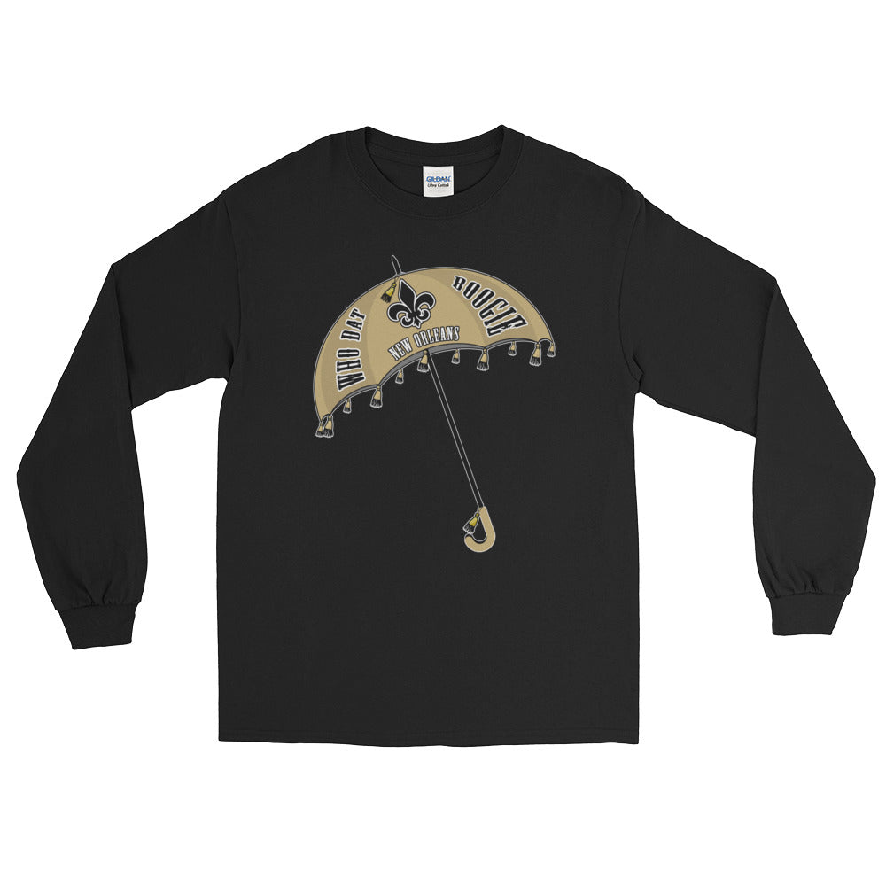Adult Long Sleeve Solid Who Dat Boogie T-Shirt