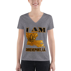 Premium Adult Women's Fashion Deep V-neck I AM SHREVEPORT Tee