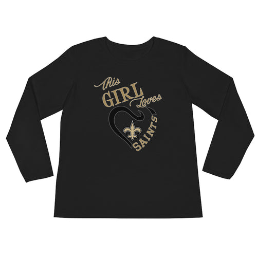Premium Ladies' This Girl Loves The Saints T-Shirt (LS)