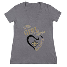 Load image into Gallery viewer, Premium Women's This Girl Loves The Saints V Neck Tee