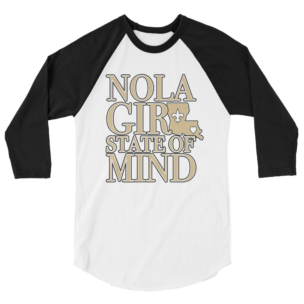 Adult NOLA Girl State of Mind (LA) Two Tone Shirt (3/4 Sleeve)