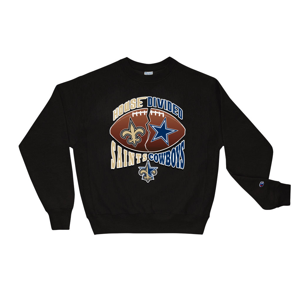 Premium Adult House Divided Saints/Cowboys Crewneck Sweatshirt