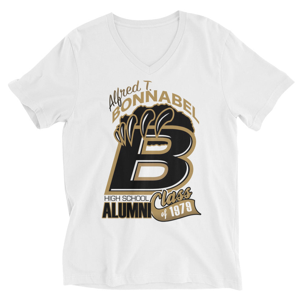 Premuim Adult Unisex Short Sleeve V-Neck Bonnable H.S. Alumni Class 1979T-Shirt