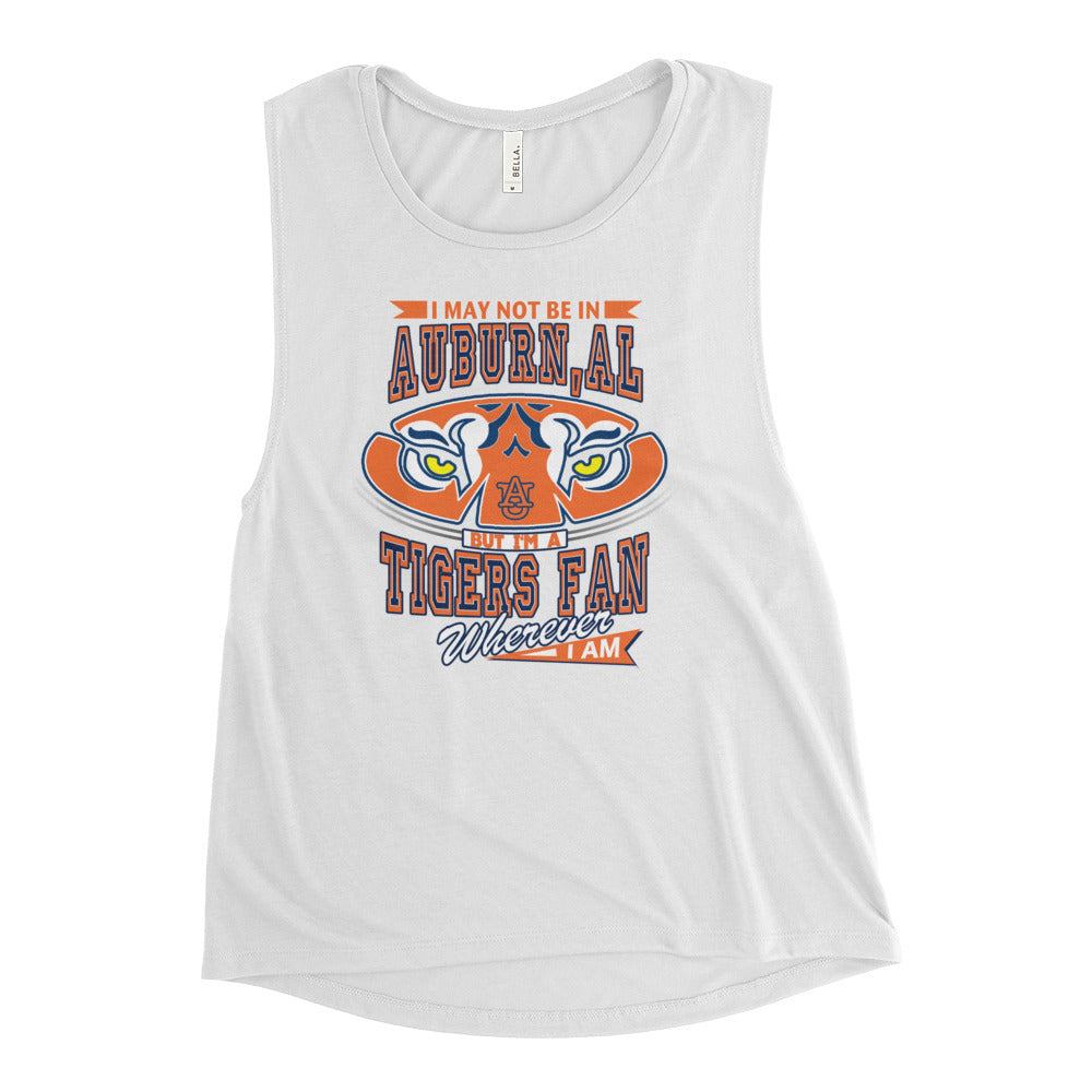 Premium Ladies' Wherever I Am- Auburn Tigers Muscle Tank