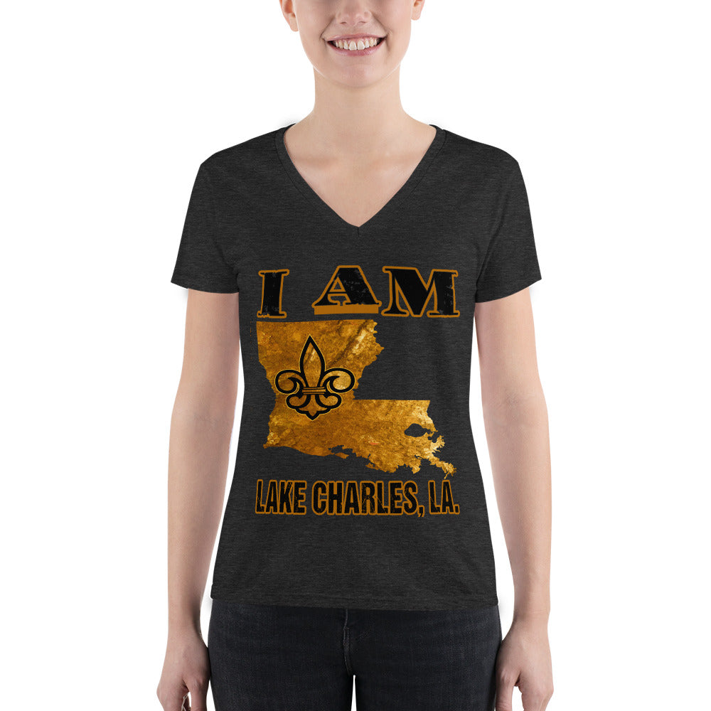 Premium Adult Women's Fashion Deep V-neck I AM LAKE CHARLES Tee