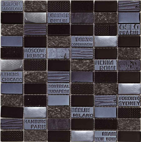 MOSAICO DECOR STAMP NEGRO