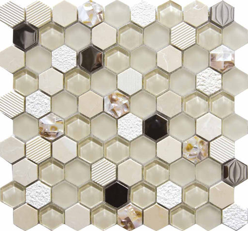 MOSAICO DECOR HEXAGONAL BEIGE NACAR