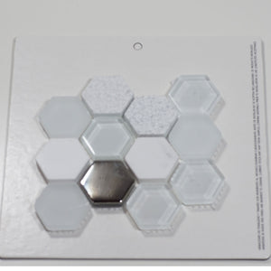 MOSAICO DECOR HEXAGONAL BLANCO