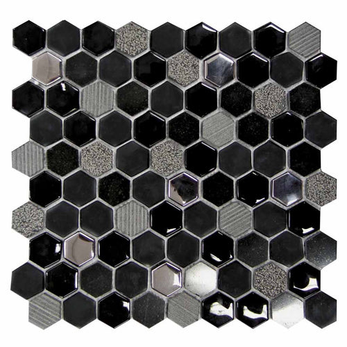 MOSAICO DECOR HEXAGONAL NEGRO