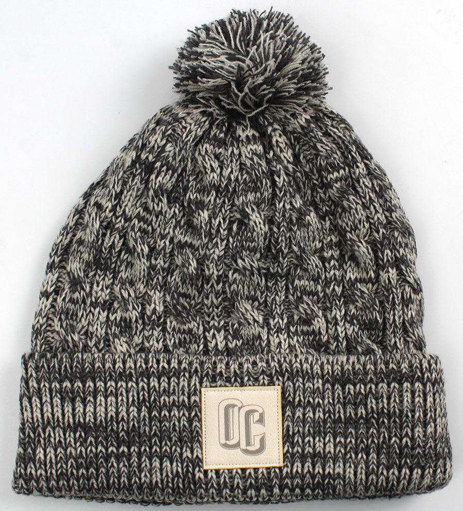 Ahead, Heather Cable-Knit W/Pom Beanie, University Grey