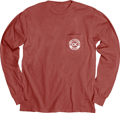 Blue 84 Dyed Ringspun Long Sleeve W/Pocket, Nantucket Red