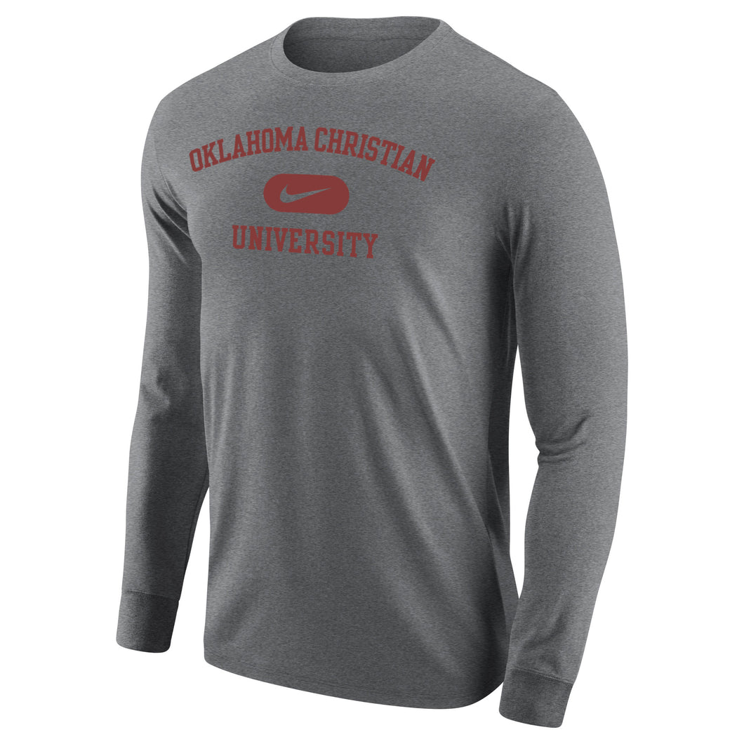 Nike Men's Core Cotton Long Sleeve Tee, Dark Heather