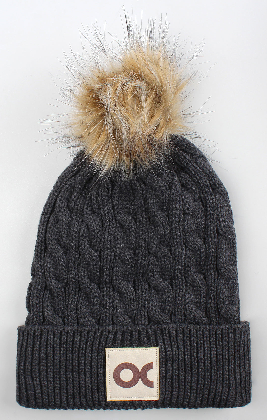 Ahead, Ladies Knit Beanie W/Pom, Charcoal Heather