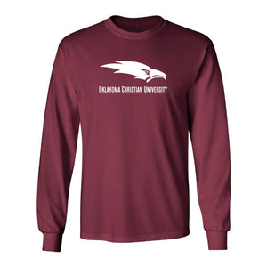 Core Cotton Long Sleeve Tee, Logo, Crimson