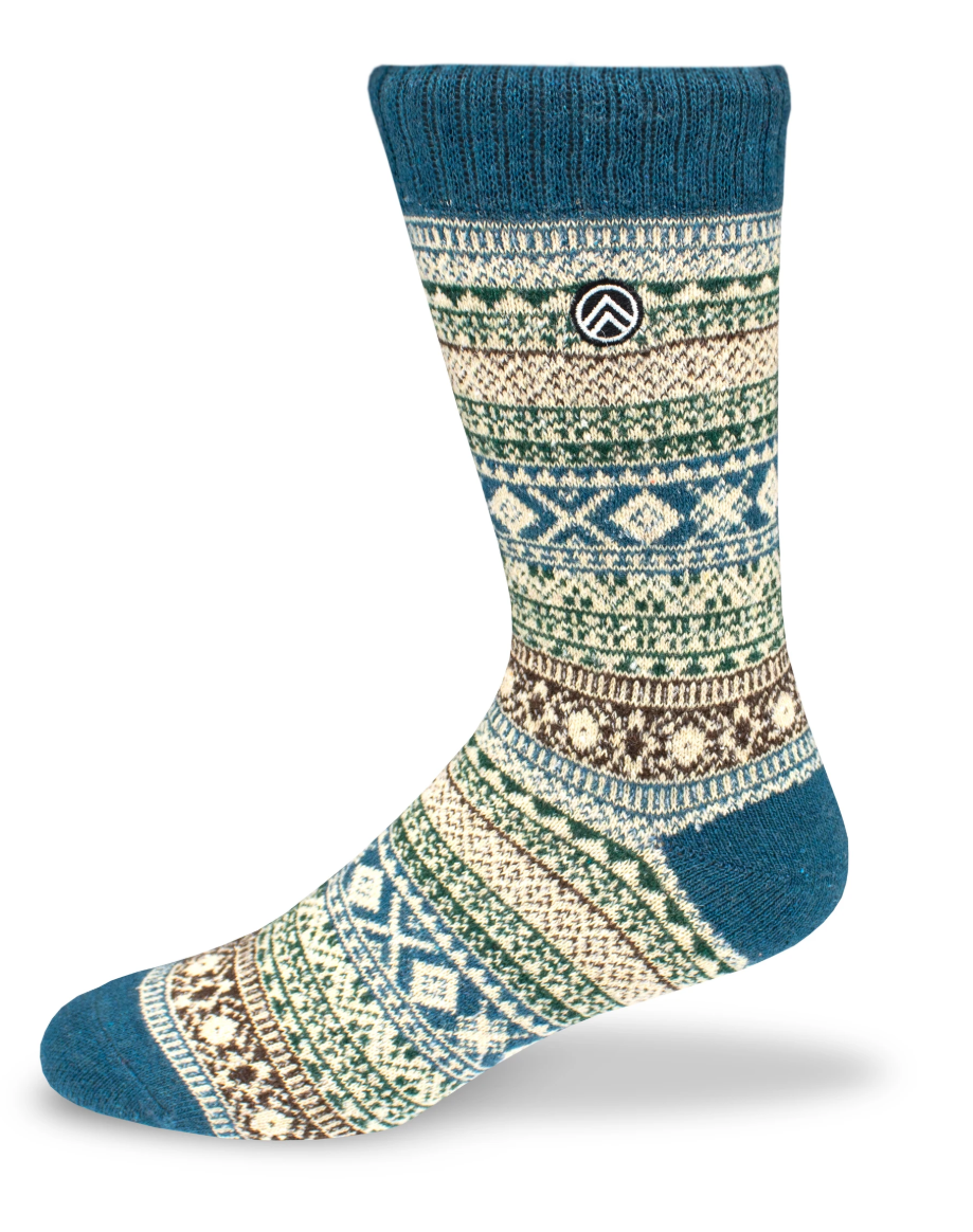 Sky Footwear Acadia Vintage Winter Wool Socks, Light Blue