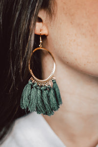 Olive Tassel Earrings