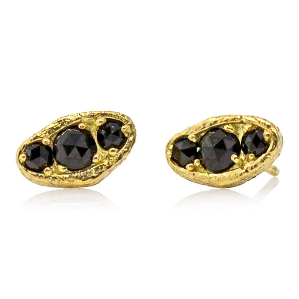 Puddle Stud Earrings with Three Black Diamonds